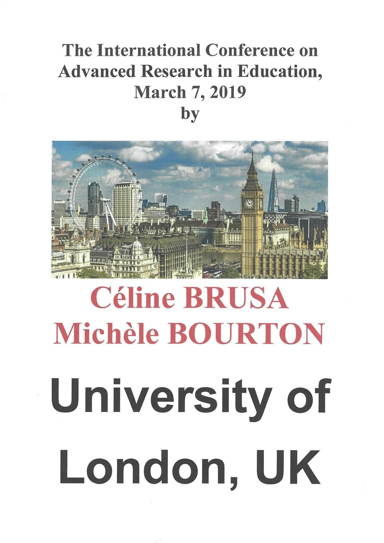 Affiche conférence Londres mars 2019